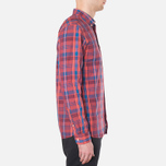 Мужская рубашка Lacoste Live Skinny Fit Checked Shirt Sandalwood/Marinere/Bordeaux фото- 1