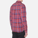 Мужская рубашка Lacoste Live Skinny Fit Checked Shirt Sandalwood/Marinere/Bordeaux фото- 2