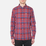 Мужская рубашка Lacoste Live Skinny Fit Checked Shirt Sandalwood/Marinere/Bordeaux фото- 4