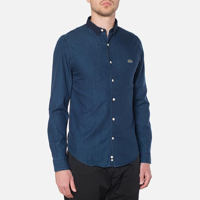 Lacoste Live Skinny Fit Denim Shirt Dark Blue Rinse