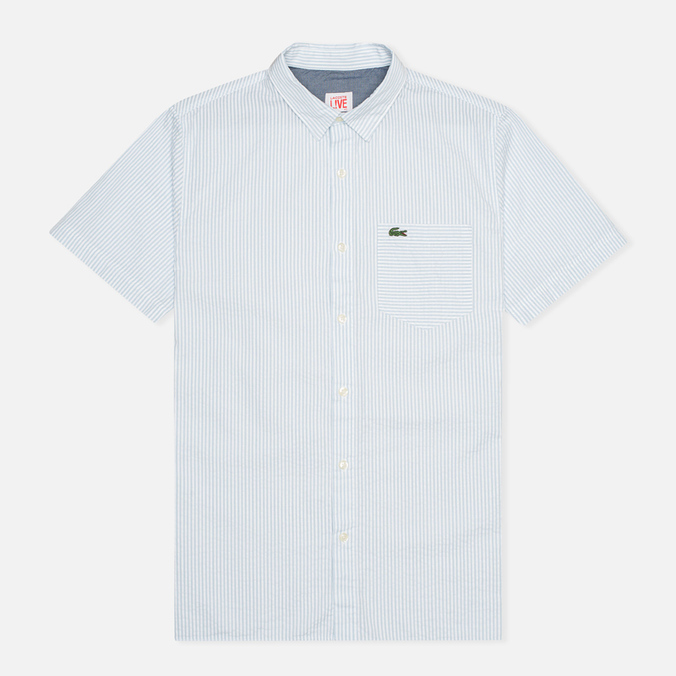 Мужская рубашка Lacoste Live Striped Relief Ciel/Blanc