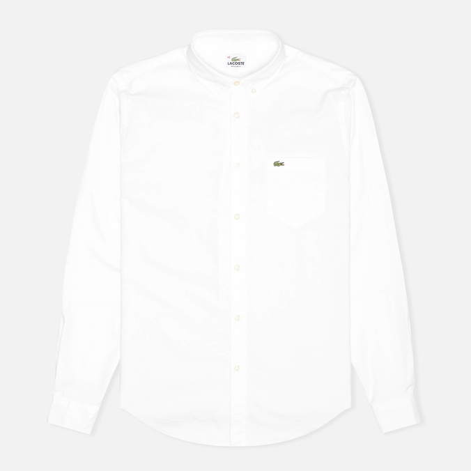 Мужская рубашка Lacoste Oxford Cotton Regular Fit White