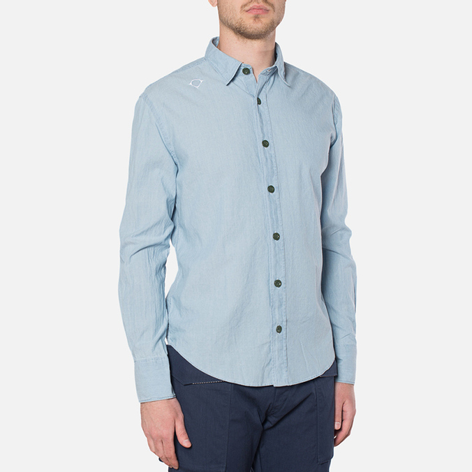 MA.Strum Long Sleeve Base Button Front Shirt Blue Chambray