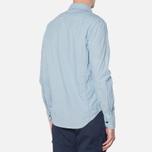 MA.Strum Long Sleeve Base Button Front Shirt Blue Chambray photo- 2