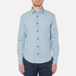 MA.Strum Long Sleeve Base Button Front Shirt Blue Chambray photo- 4