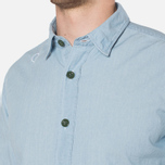 MA.Strum Long Sleeve Base Button Front Shirt Blue Chambray photo- 5