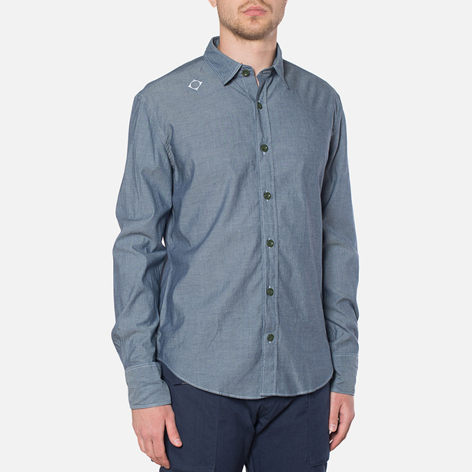 MA.Strum Long Sleeve Base Button Front Shirt Dark Blue Chambray