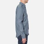MA.Strum Long Sleeve Base Button Front Shirt Dark Blue Chambray photo- 1
