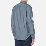 MA.Strum Long Sleeve Base Button Front Shirt Dark Blue Chambray photo- 2