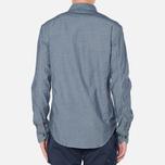 MA.Strum Long Sleeve Base Button Front Shirt Dark Blue Chambray photo- 3
