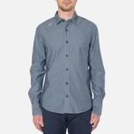 MA.Strum Long Sleeve Base Button Front Shirt Dark Blue Chambray photo- 4