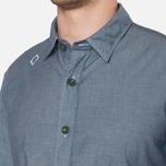MA.Strum Long Sleeve Base Button Front Shirt Dark Blue Chambray photo- 5