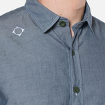 MA.Strum Long Sleeve Base Button Front Shirt Dark Blue Chambray photo- 6