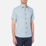 MA.Strum Short Sleeve Base Button Front Shirt Blue Chambray photo- 0