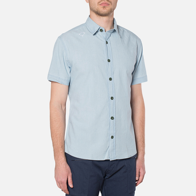MA.Strum Short Sleeve Base Button Front Shirt Blue Chambray