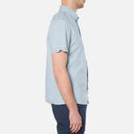 MA.Strum Short Sleeve Base Button Front Shirt Blue Chambray photo- 1