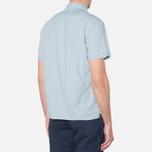 MA.Strum Short Sleeve Base Button Front Shirt Blue Chambray photo- 2