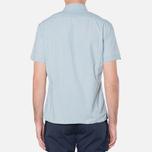 MA.Strum Short Sleeve Base Button Front Shirt Blue Chambray photo- 3