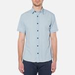MA.Strum Short Sleeve Base Button Front Shirt Blue Chambray photo- 4