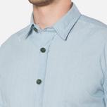 MA.Strum Short Sleeve Base Button Front Shirt Blue Chambray photo- 5