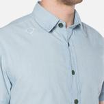 MA.Strum Short Sleeve Base Button Front Shirt Blue Chambray photo- 6