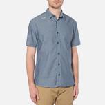 MA.Strum Short Sleeve Base Button Front Shirt Dark Blue Chambray photo- 0