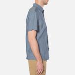 MA.Strum Short Sleeve Base Button Front Shirt Dark Blue Chambray photo- 1