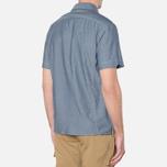 MA.Strum Short Sleeve Base Button Front Shirt Dark Blue Chambray photo- 2