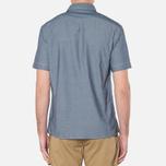 MA.Strum Short Sleeve Base Button Front Shirt Dark Blue Chambray photo- 3