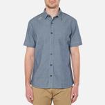 MA.Strum Short Sleeve Base Button Front Shirt Dark Blue Chambray photo- 4