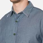 MA.Strum Short Sleeve Base Button Front Shirt Dark Blue Chambray photo- 5