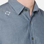 MA.Strum Short Sleeve Base Button Front Shirt Dark Blue Chambray photo- 6