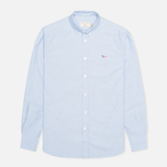 Мужская рубашка Maison Kitsune Tricolor Patch Classic Blue фото- 0