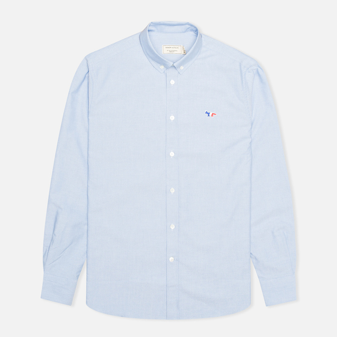 Maison Kitsune Tricolor Patch Classic Men's Shirt Blue