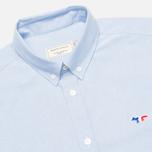 Maison Kitsune Tricolor Patch Classic Men's Shirt Blue photo- 1