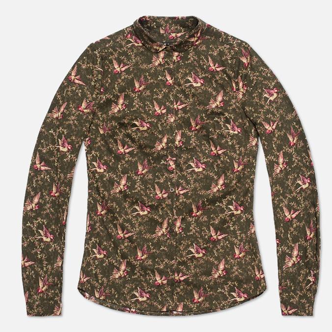 Barbour Bantam Bird Print Women's Shirt Green