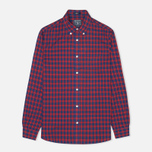 Woolrich Madras Long Sleeve Men's Shirt Coral Red photo- 0
