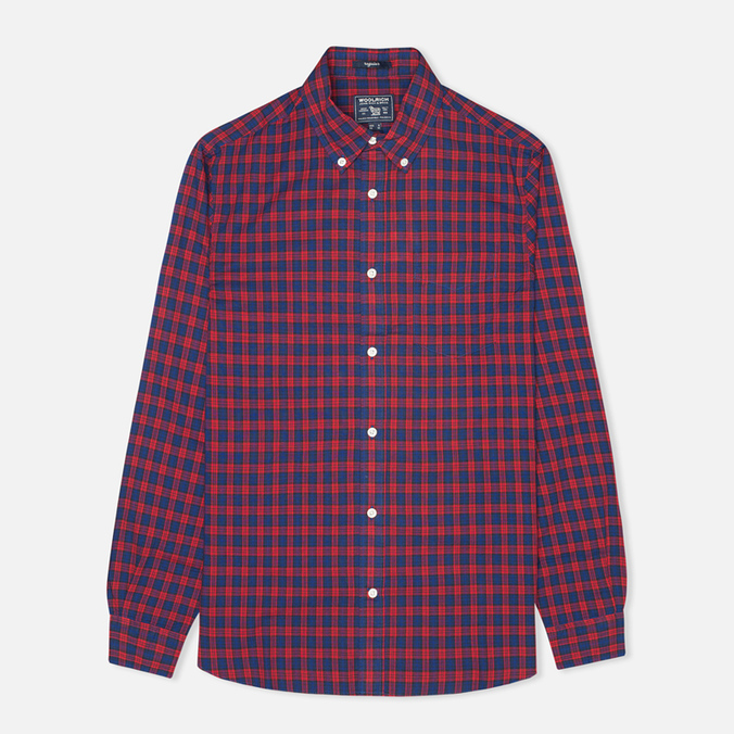 Woolrich Madras Long Sleeve Men's Shirt Coral Red