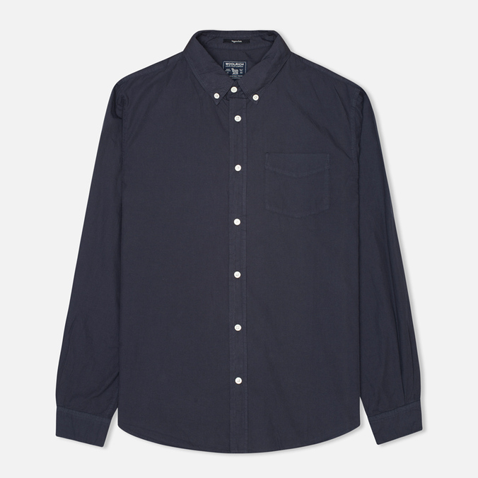 Woolrich Popeline Pocket Men's Shirt Navy