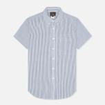 Woolrich Woolen Mills Seersucker Button Down SS Men's Shirt Navy photo- 0
