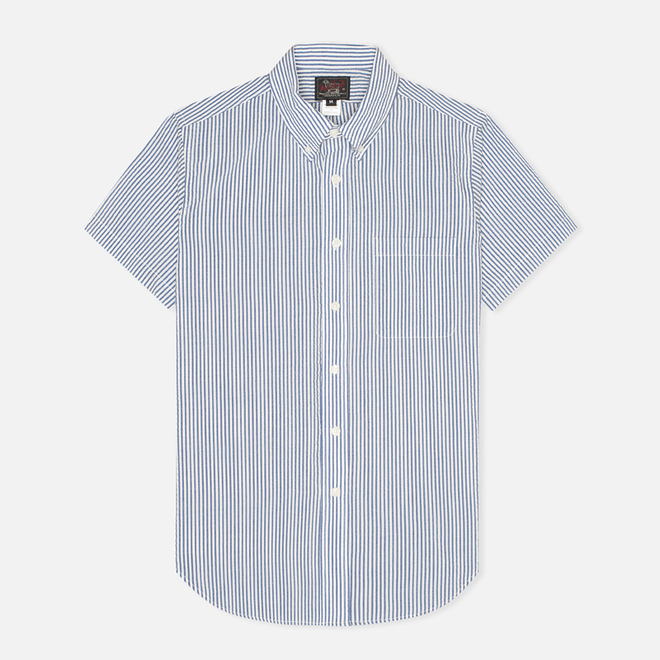 Мужская рубашка Woolrich Woolen Mills Seersucker Button Down SS Navy