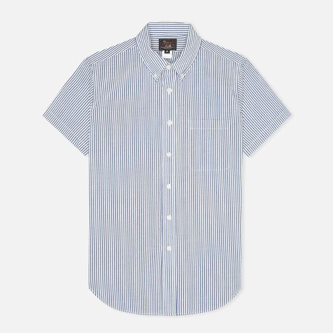 Woolrich Woolen Mills Seersucker Button Down SS Men's Shirt Navy