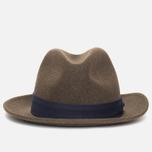 The Hill-Side Indigo Panama Cloth Band Hat Brown photo- 0