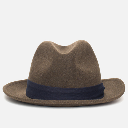 The Hill-Side Indigo Panama Cloth Band Hat Brown