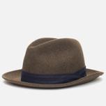 The Hill-Side Indigo Panama Cloth Band Hat Brown photo- 1