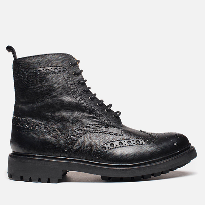 Мужские ботинки Grenson Fred Commando Sole Brogue Derby Boot Alpine Grain Black