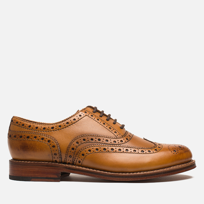 Grenson Stanley Brogue Men's Shoes Tan