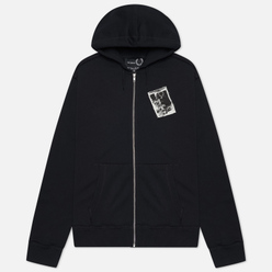 Мужская толстовка Fred Perry x Raf Simons Printed Patch Zip Hoodie Black