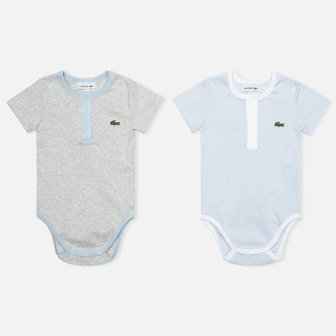 Lacoste Baby Boy 2 Sleepsuits Children's pyjamas set Atmosphere/Paladium Chine