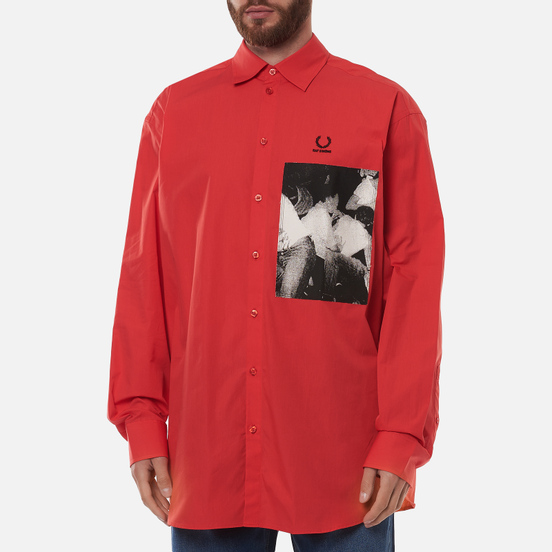 Мужская рубашка Fred Perry x Raf Simons Oversized Printed Patch Lipstick Red